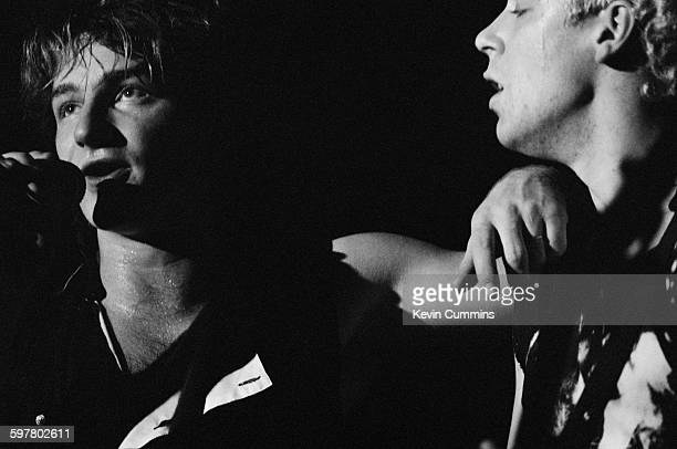 Singer Bono performing with Irish rock group U2 at the Apollo Manchester December 1982