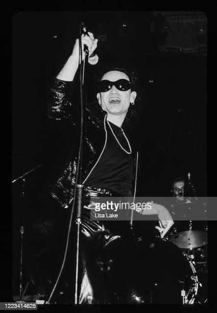 Singer Bono performs at Veterans Stadium on September 2 in Philadelphia, Pennsylvania.