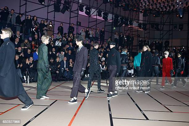 Singer Bono with his wife Ali Hewson Peter Marino and Wang Kai attend the Dior Homme Menswear Fall/Winter 20172018 show as part of Paris Fashion Week...
