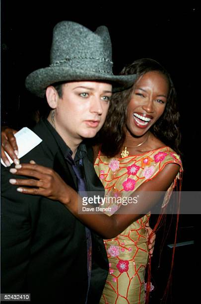 Singer Boy George and model Naomi Campbell at a UNICEF party in aid of Kosovo held on June 17 1999 in London