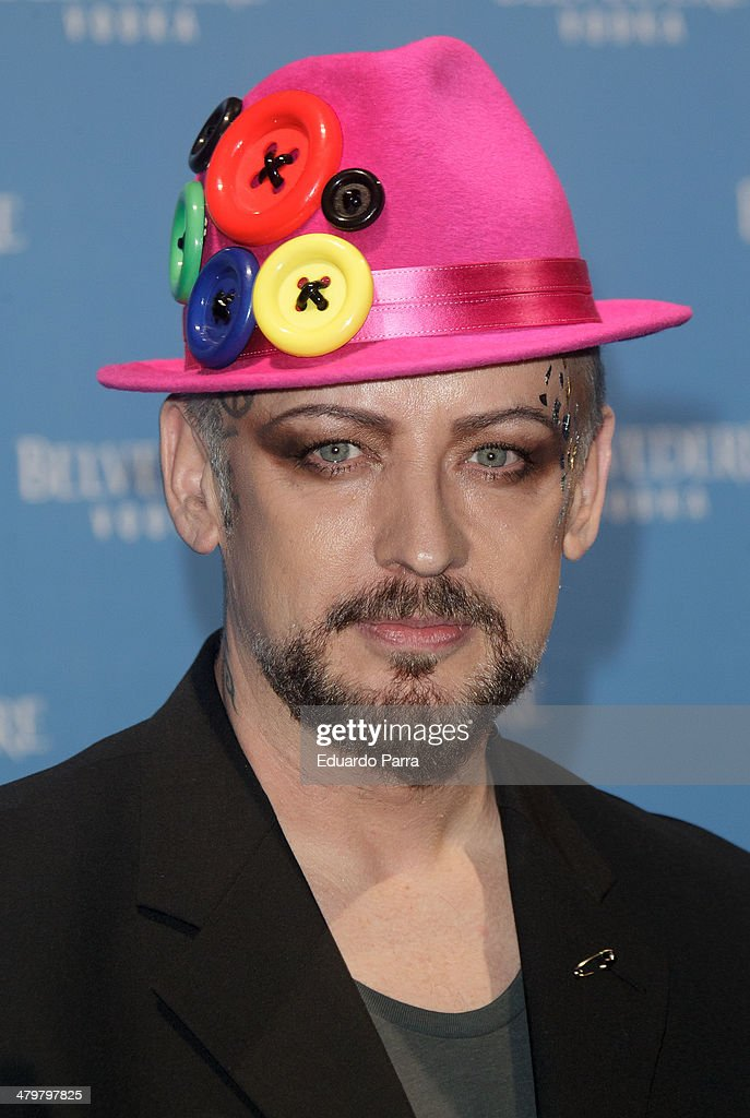 Singer Boy George attends Belvedere Vodka party photocall at Principe Pio train station on March 20, 2014 in Madrid, Spain.
