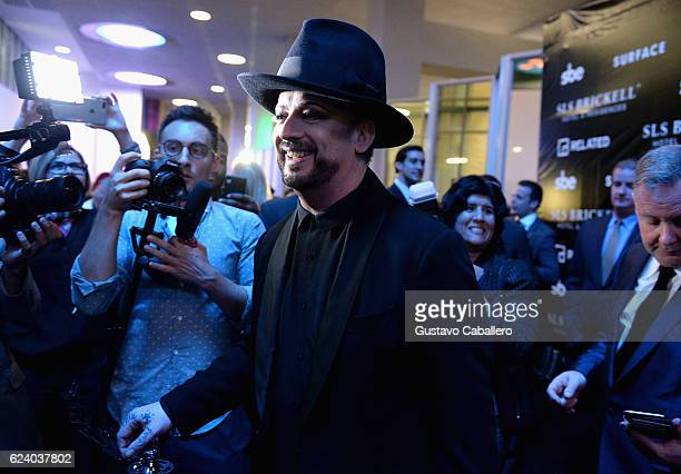 Singer Boy George attends sbe's SLS Brickell Hotel Residences grand opening with performance by Boy George on November 17 2016 in Miami Florida