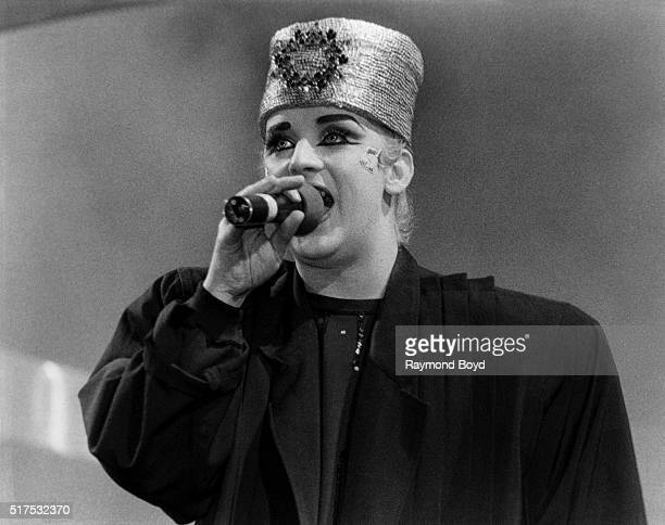Singer Boy George from Culture Club performs at the Rosemont Horizon in Rosemont Illinois in 1985