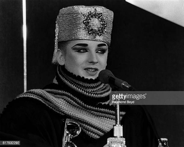 Singer Boy George from Culture Club attends a press conference after their performance at the Rosemont Horizon in Rosemont Illinois in 1985