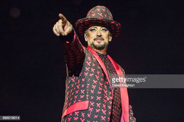 Singer Boy George of Culture Club performs on stage at Humphrey's on August 24, 2016 in San Diego, California.