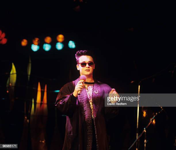 Singer Boy George of Culture Club performs on stage circa 1985