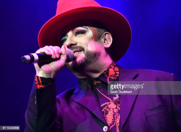Singer Boy George of Culture Club performs with his solo band during KEarth's Totally 80's Show at Honda Center on January 26 2018 in Anaheim...