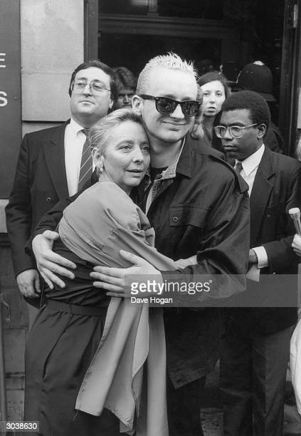Singer Boy George of the new romantic pop group Culture Club with his mother outside Marylebone Magistrates Court London circa 1995