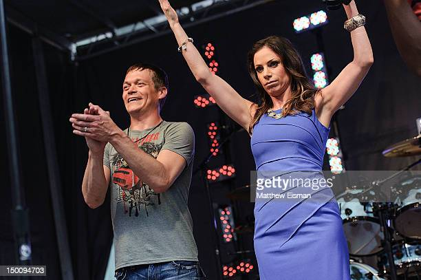 Singer Brad Arnold of the rock band 3 Doors Down and TV personality Jill Nicolini during FOX Friends All American Concert Series at FOX Studios on...