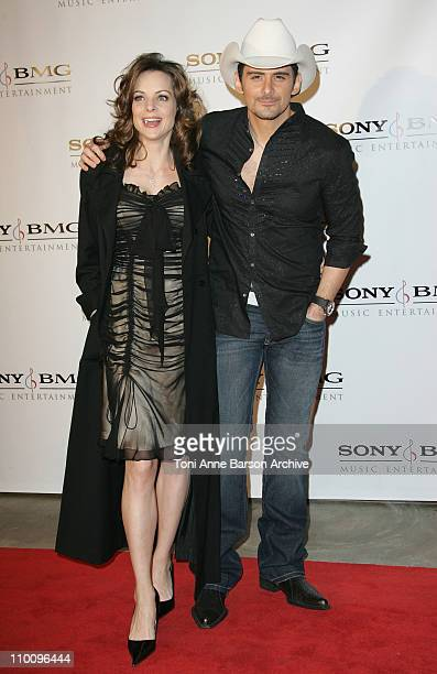 Singer Brad Paisley and actress Kimberly Williams arrive at the Sony/BMG Grammy After Party at the Beverly Hills Hotel on February 10 2008 in Beverly...
