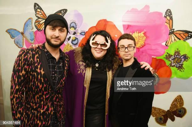 Singer Brad Walsh fashion designer Ashley Longshore and fashion designer Christian Siriano attend Ashley Longshore and Bergdorf Goodman partner and...