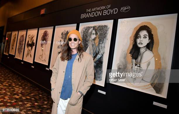 Singer Brandon Boyd of Incubus presents a display of his fine art giclee prints outside The Joint inside the Hard Rock Hotel Casino ahead of the...