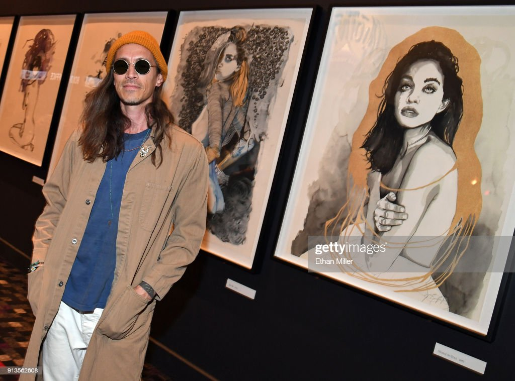 Singer Brandon Boyd of Incubus presents a display of his fine art giclee prints outside The Joint inside the Hard Rock Hotel & Casino ahead of the first night of the band's four-show limited engagement on February 2, 2018 in Las Vegas, Nevada.