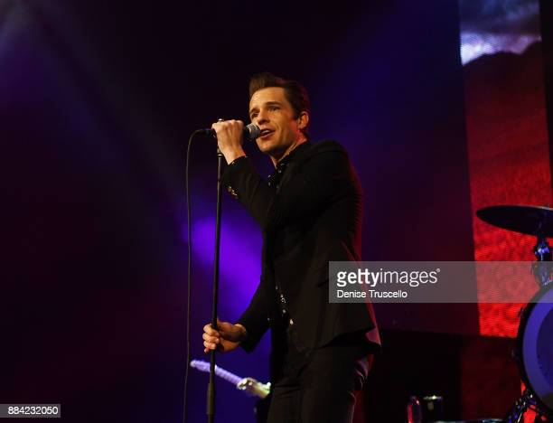 Singer Brandon Flowers of The Killers perform at the Vegas Strong Benefit Concert at TMobile Arena to support victims of the October 1 tragedy on the...