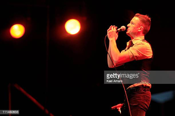 Singer Brandon Flowers of The Killers performs during the 2011 Lollapalooza music festival at O Higgins Park on April 02 2011 in Santiago Chile