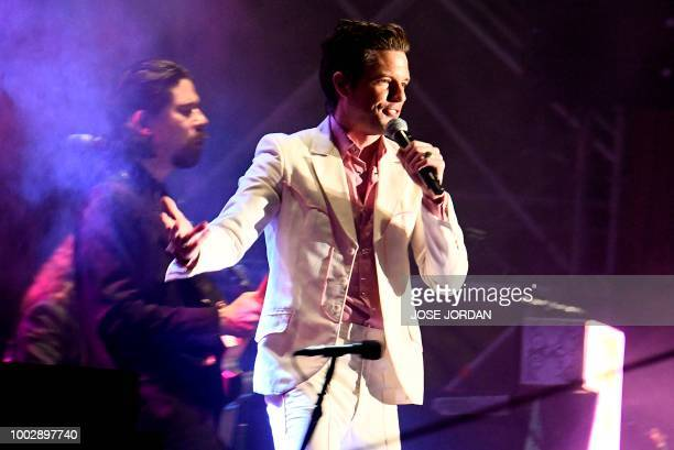 US singer Brandon Flowers of The Killers performs on the second day of the Benicassim International Music Festival in Benicassim on July 20 2018