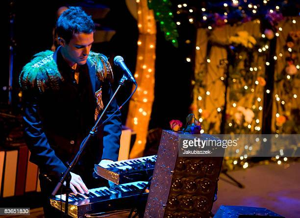 Singer Brandon Flowers of the US rock band 'The Killers' performs live during a concert at the Kesselhaus on November 11 2008 in Berlin Germany The...