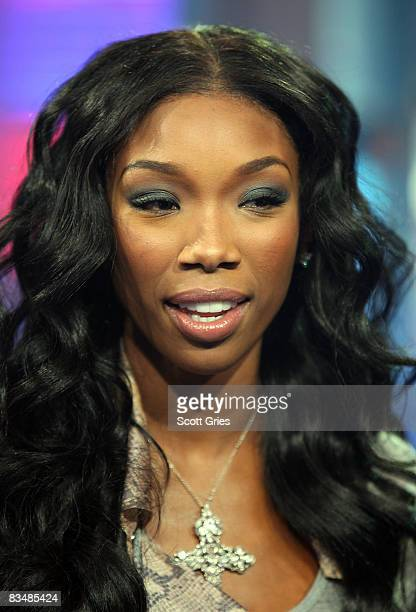 Singer Brandy appears onstage during MTV's Total Request Live at the MTV Times Square Studios October 29 2008 in New York City