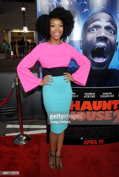 Singer Brandy arrives at the Los Angeles premiere of 'A Haunted House 2' at Regal Cinemas LA Live on April 16 2014 in Los Angeles California