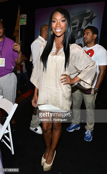 Singer Brandy attends day 2 of the 2012 BET Awards Radio Room held at The Shrine Auditorium on June 30 2012 in Los Angeles California