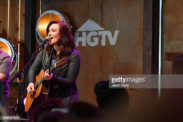 Singer Brandy Clark performs on stage at the HGTV Lodge at CMA Music Fest on June 9 2016 in Nashville Tennessee