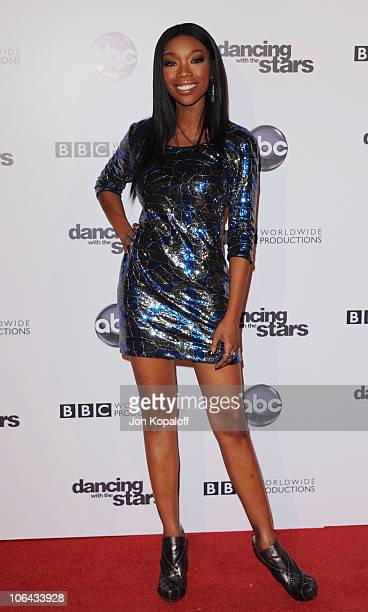 Singer Brandy Norwood arrives at the Dancing With The Stars 200th Episode at Boulevard 3 on November 1 2010 in Hollywood California