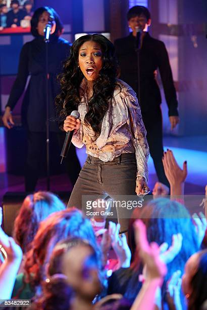 Singer Brandy performs onstage during MTV's Total Request Live at the MTV Times Square Studios October 29 2008 in New York City