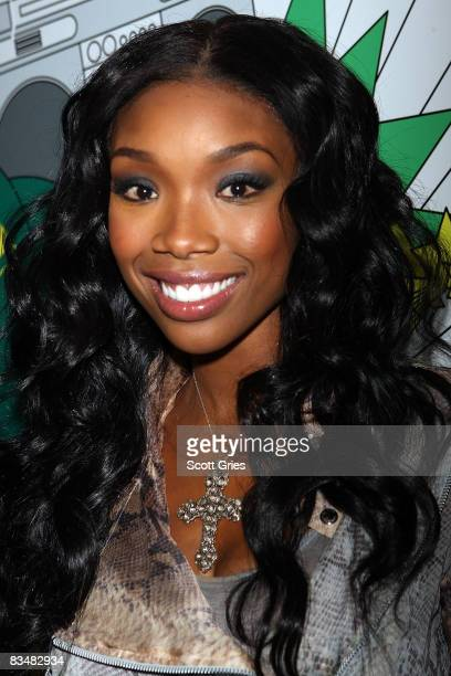 Singer Brandy poses backstage during MTV's Total Request Live at the MTV Times Square Studios October 29 2008 in New York City