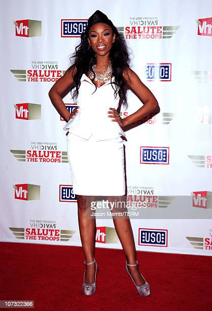 Singer Brandy poses in the press room during VH1 Divas Salute the Troops presented by the USO at the MCAS Miramar on December 3 2010 in Miramar...