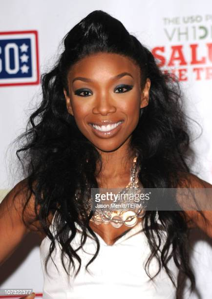 """Singer Brandy poses in the press room during """"VH1 Divas Salute the Troops"""" presented by the USO at the MCAS Miramar on December 3, 2010 in Miramar,..."""