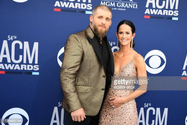 US singer Brantley Gilbert and wife Amber Cochran arrive for the 54th Academy of Country Music Awards on April 7 at the MGM Grand Garden Arena in Las...