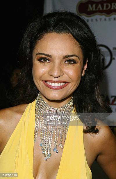 Singer Brenda Mejia arrives at the Post reception party for the Latin Grammy's on September 1 2004 at Madre's restaurant in Pasadena California