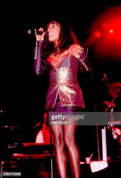 Singer Brenda Russell performs on stage at the Poplar Creek Music Theater in Hoffman Estates Illinois July 29 1989