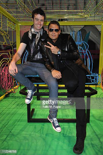 Singer Brendan Croskerry and DJ Sergio Cerruti attend the Benedict Radcliffe wireframe design installation inspired by Range Rover Evoque at the...