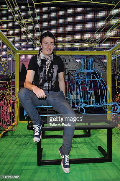 Singer Brendan Croskerry attends the Benedict Radcliffe wireframe design installation inspired by Range Rover Evoque at the Opificio 31 during Milan...