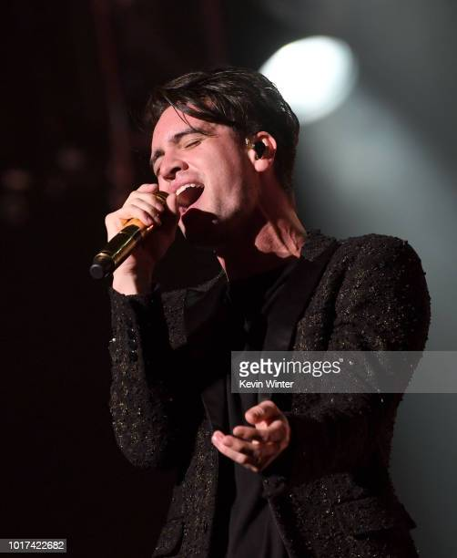 Singer Brendon Urie of Panic At The Disco performs at the Staples Center on August 15 2018 in Los Angeles California