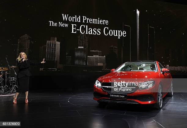 Singer Brenna Whitaker performs during the reveal of the The 2018 MercedesBenz EClass Coupe at the 2017 North American International Auto Show on...