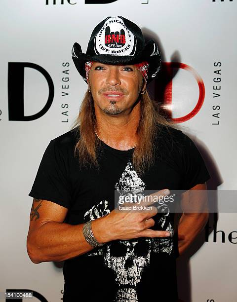 Singer Bret Michaels arrives at the grand opening of The D Las Vegas celebration at the Fremont Street Experience on October 13 2012 in Las Vegas...