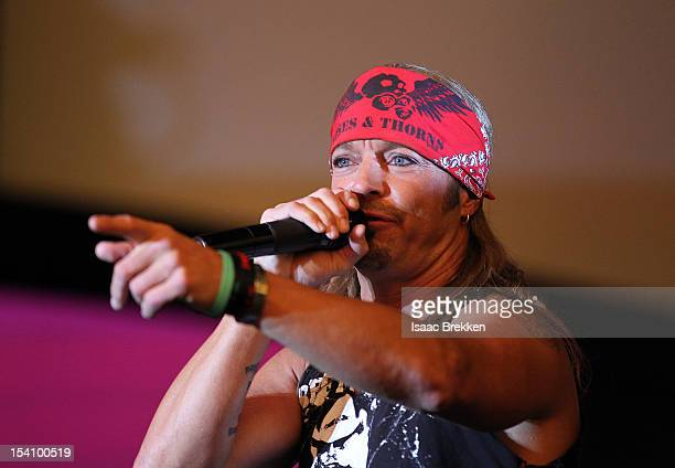 Singer Bret Michaels performs at the grand opening of The D Las Vegas celebration at the Fremont Street Experience on October 13 2012 in Las Vegas...