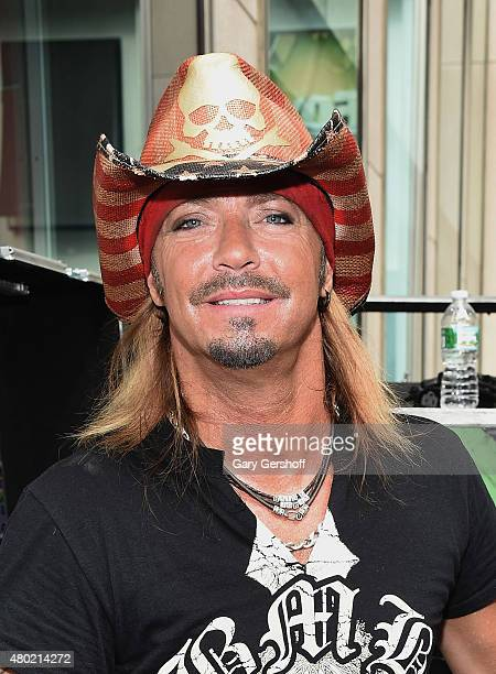 Singer Bret Michaels poses backstage afterperforming at FOX Friends All American Concert Series outside of FOX Studios on July 10 2015 in New York...