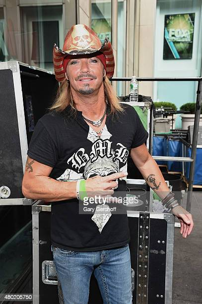 Singer Bret Michaels poses for pictures backstage after performing at 'FOX Friends' All American Concert Series outside of FOX Studios on July 10...