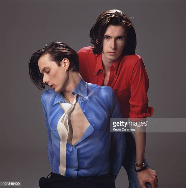 Singer Brett Anderson and guitarist Bernard Butler of British band Suede March 1993 Anderson's shirt and tie are painted onto his chest