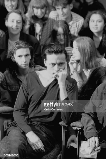 Singer Brett Anderson of English alternative rock band Suede at an event organized by NME magazine 26th October 1993 On the left is guitarist Bernard...