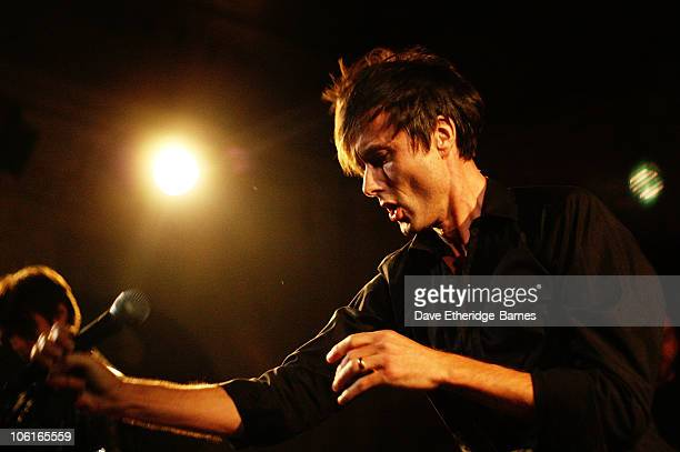 Singer Brett Anderson of Suede performs on stage during an intimate gig at Bush Hall to celebrate the upcoming release of their 'The Best Of' album...