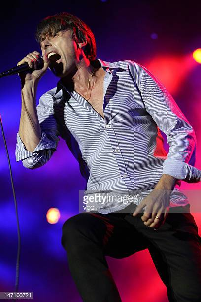 Singer Brett Anderson of the band Suede performs during the Big Love Chengdu Music Festival at Chengdu International Intangible Cultural Heritage...