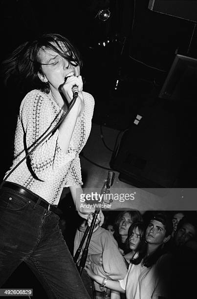 Singer Brett Anderson performing with English alternative rock group Suede at Camden Underworld London 1992