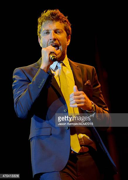 Singer Brett Eldredge performs onstage during the 50th Academy of Country Music Awards All Star Jam at ATT Stadium on April 19 2015 in Arlington Texas
