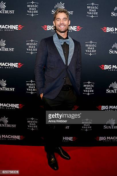 Singer Brett Young attends the Big Machine Label Group's celebration of the 50th Annual CMA Awards at Marathon Music Works on November 2 2016 in...