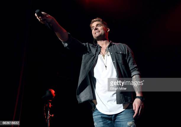 Singer Brett Young performs onstage during the ACM Party For A Cause The Joint at The Joint inside the Hard Rock Hotel Casino on April 1 2017 in Las...