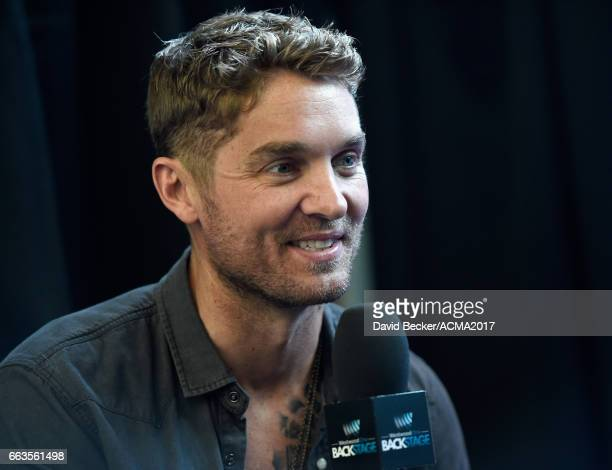 Singer Brett Young speaks during the 52nd Academy Of Country Music Awards Cumulus/Westwood One Radio Remotes at TMobile Arena on April 1 2017 in Las...
